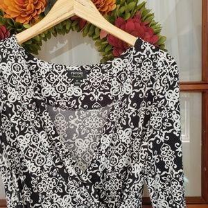 Nicole Miller Black & White Faux Wrap Dress, 16